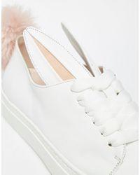 Minna Parikka - White Leather Bunny Ears & Faux Fur Tail Sneakers - White - Lyst