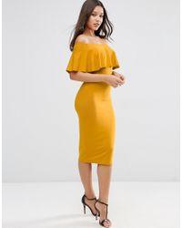 ASOS | Yellow Ruffle Off Shoulder Bardot Pencil Midi Dress - Multi | Lyst
