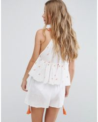 ASOS - White Beach Co-ord Embroidered Top - Lyst