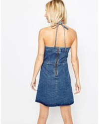 ASOS - Denim Mini Halter Neck Dress With Scallop Edge In Mid Wash Blue - Lyst