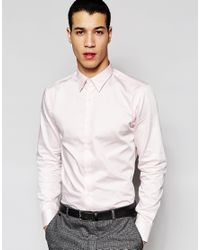 SELECTED - Pink Formal Shirt In Egyptian Cotton In Slim Fit for Men - Lyst