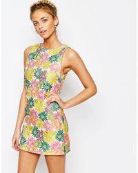 True Decadence | Multicolor Floral Jacquard Mini Shift Dress | Lyst