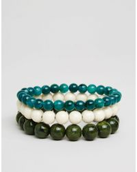 ASOS | Blue Beaded Bracelet Pack With Turquoise - Multi for Men | Lyst
