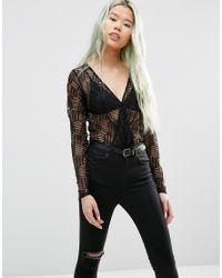 Just Female - Black Audrey Lace Body - Lyst