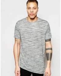 ASOS - Gray Super Longline T-shirt With Curved Back Hem In Linen Mix Fabric - Grey for Men - Lyst