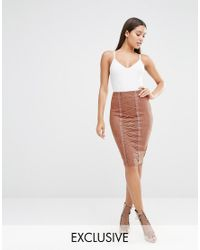 Naanaa | Pink Pencil Skirt With Corset Lace Up Detail | Lyst