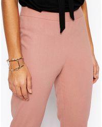 ASOS - Pink Linen Crop Trousers - Lyst