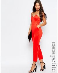 e1759d525294 Lyst - Asos Jersey Jumpsuit With Angular Bandeau in Black