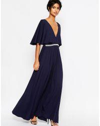 ASOS - Blue Embellished Trim Maxi Dress - Lyst