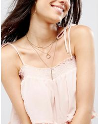 Ashiana - Metallic Multi Layered Necklaces With Bar Drop Detail - Lyst