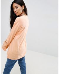 ASOS - Orange Top With Long Sleeves And Distressing - Lyst