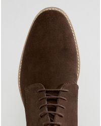 ASOS - Lace Up Boots In Brown Suede With Contrast Sole for Men - Lyst