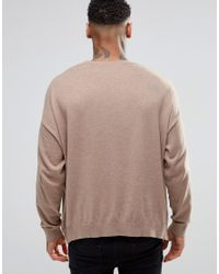 ASOS - Natural Oversized Jumper In Beige Cotton for Men - Lyst