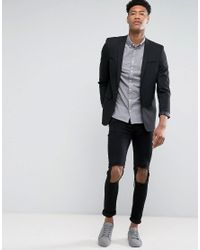 ASOS Tall Skinny Suit Jacket In Black for men