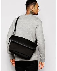ASOS - Black Satchel In Scuba With Fold Top for Men - Lyst