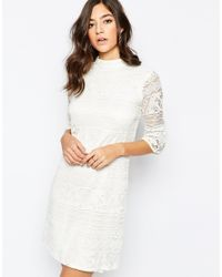 Warehouse | Natural High Neck Flute Sleeve Dress | Lyst