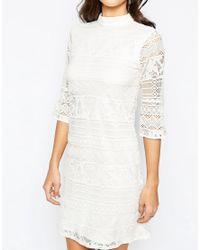 Warehouse - Natural High Neck Flute Sleeve Dress - Lyst