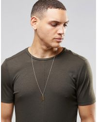 Mister - Metallic Feather Necklace In Gold for Men - Lyst