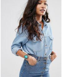 ASOS | Blue Stone Cuff Bracelet | Lyst