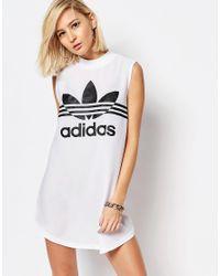 Adidas Originals | White Originals High Neck Tunic Dress With Trefoil Logo | Lyst