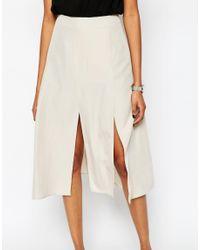 ASOS - White Soft Midi Skirt With Splices - Lyst