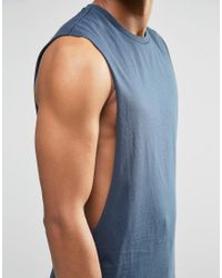 ASOS - Sleeveless T-shirt With Extreme Dropped Armhole In Blue for Men - Lyst