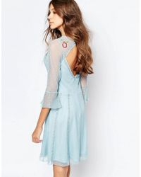Frock and Frill - Blue Fluted Sleeve Skater Dress With Folk Embroidery - Lyst
