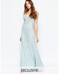 Frock and Frill - Blue Allover Embellished Plunge Front Maxi Dress - Lyst