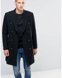 ASOS | Wool Mix Double Breasted Overcoat In Black for Men | Lyst