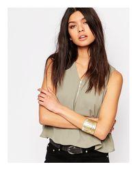 Nylon | Metallic Two Wrap Feather Bracelet Set - Gold / Silver | Lyst