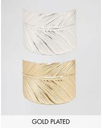Nylon - Metallic Two Wrap Feather Bracelet Set - Gold / Silver - Lyst