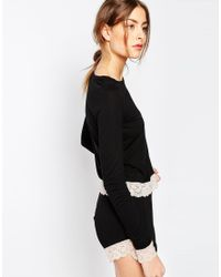 ASOS - Black Tall Lace Trim Long Sleeve Tee & Short Pyjama Set - Lyst