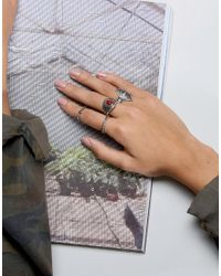 ASOS - Red Pack Of 4 Festival Stone And Etched Rings - Lyst