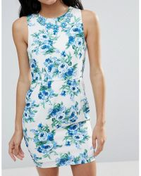 Zibi London - Blue Floral Shift Dress - Lyst