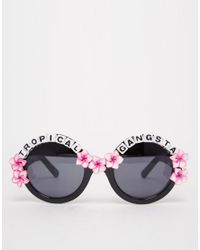Rad & Refined - Black Tropical Gangsta Round Sunglasses With Hibicus Flowers - Lyst