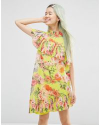ASOS | Yellow Pleated Shift Dress In Bright Acid Floral | Lyst