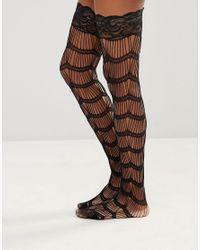Leg Avenue - Black Scalloped Eyelash Stay Up Stockings - Lyst