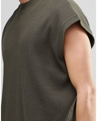 ASOS - Super Oversized T-shirt In Waffle Fabric In Green for Men - Lyst