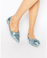 ASOS | Blue Lady Pointed Bow Ballet Flats | Lyst
