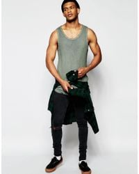 ASOS - Natural Rib Longline Vest With Oil Wash And Curve Hem In Khaki for Men - Lyst