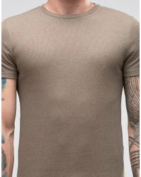 ASOS - Multicolor Extreme Muscle T-shirt With Crew Neck In Rib In Brown Marl for Men - Lyst