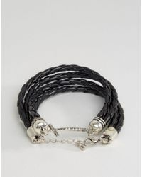 ASOS - Black Wrap Bracelet With Cross for Men - Lyst