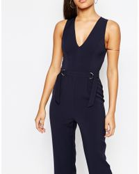 Missguided | Blue Sleeveless D Ring Jumpsuit | Lyst