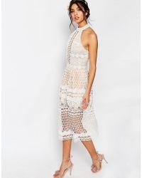 Jarlo - Natural Selma Halter Neck Cut Out Lace Midi Dress - Lyst
