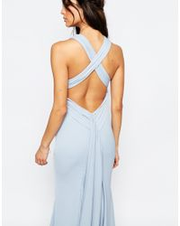 Jarlo - Sasha High Neck Maxi Dress With Train - Blue - Lyst