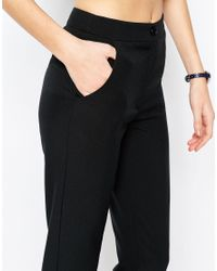 ASOS - Black High Waist Slim Fit Trousers - Lyst