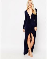 Sistaglam - Blue Istaglam Ruthie Maxi Dress With Diamante Bar Detail And Front Split - Lyst
