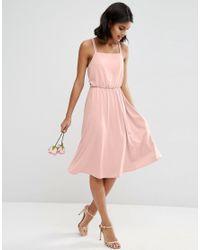 ASOS   Pink Wedding Crepe Cross Back Midi Dress   Lyst
