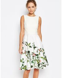 Ted Baker - Multicolor Secret Trellis Print Dress - Cream - Lyst