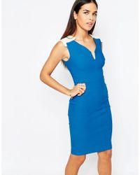 Vesper - Blue Emmi Pencil Dress With Notch Neckline - Lyst